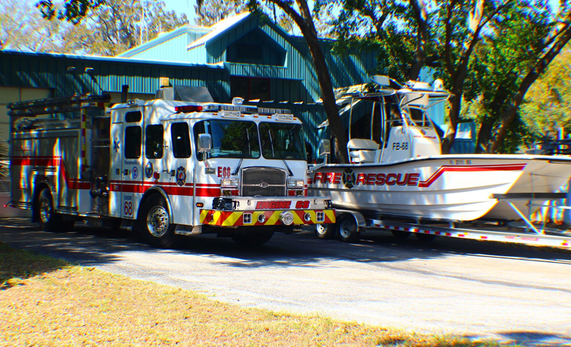 Palm Harbor Fire and Marine Rescue Engine 68 and Fireboat 68