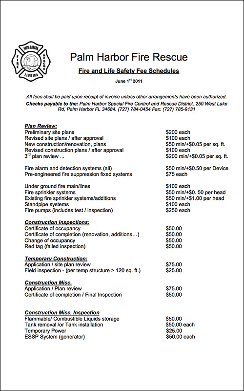 Palm Harbor Fire Rescue Fire and Life Safety Fee Schedules-June 2011